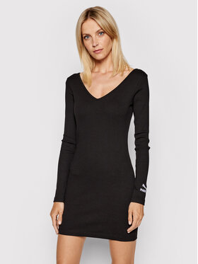 Puma Puma Плетена рокля Classics Rib Bodycon 599593 Черен Slim Fit