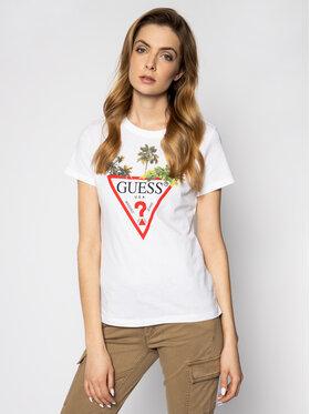 Guess Guess T-Shirt Palms Triangle W0GI52 JA900 Biały Regular Fit