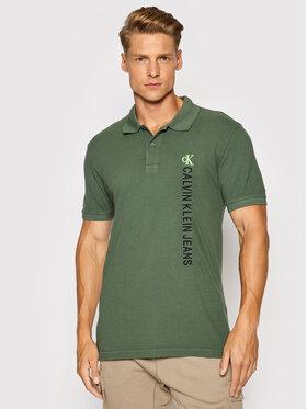 Calvin Klein Jeans Calvin Klein Jeans Тениска с яка и копчета J30J317101 Зелен Regular Fit