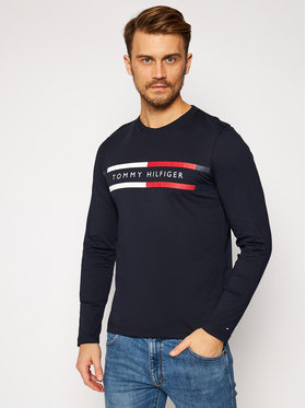 TOMMY HILFIGER TOMMY HILFIGER Longsleeve Corp Chest Striple Tee MW0MW15338 Granatowy Regular Fit