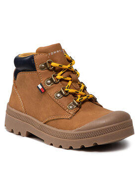 Tommy Hilfiger Tommy Hilfiger Kozaki Mid Cut Lace-Up Shoe T1B4-32084-1269206 S Brązowy
