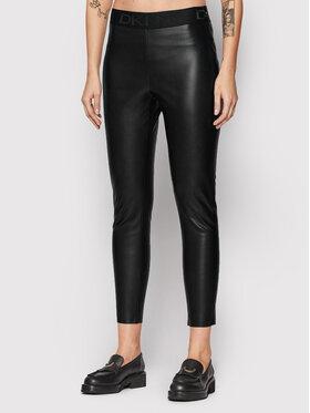 DKNY DKNY Nohavice z imitácie kože P1RKXGIJ Čierna Slim Fit