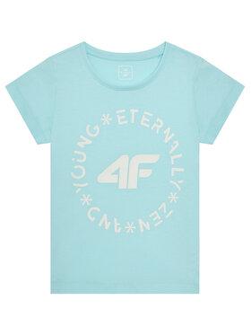 4F 4F T-Shirt HJL21-JTSD005B Niebieski Regular Fit