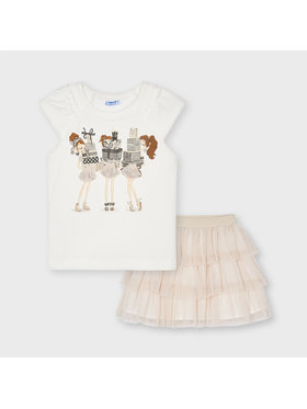 Mayoral Mayoral Ensemble t-shirt et jupe 3961 Beige Regular Fit