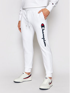 Champion Champion Παντελόνι φόρμας Satin Script Logo 214190 Λευκό Regular Fit