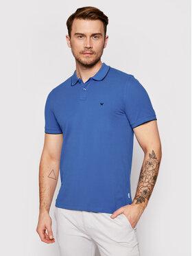 Wrangler Wrangler Тениска с яка и копчета W7D5K4X05 Син Regular Fit