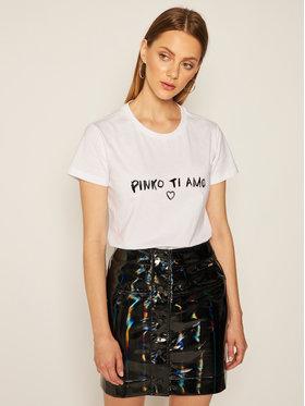 Pinko Pinko T-Shirt Arnold 2 AI 20-21 BLK01 1G15GB Y4LX Biały Regular Fit
