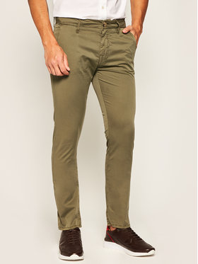 Guess Guess Bavlnené nohavice Daniel M02B29 WCRJ1 Zelená Skinny Fit