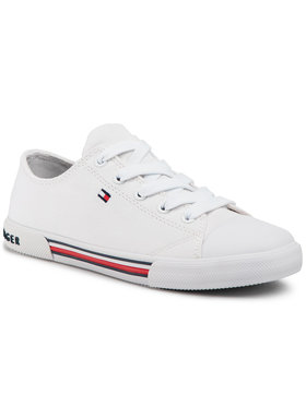 Tommy Hilfiger Tommy Hilfiger Sneakers aus Stoff Low Cut Lace Up Sneaker T3X4-30692-0890 S Weiß