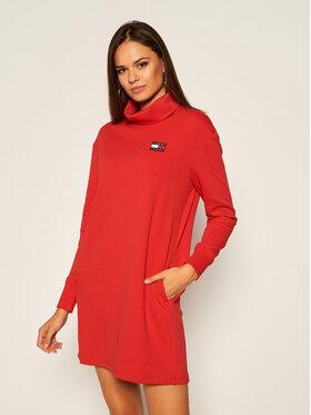 Tommy Jeans Tommy Jeans Úpletové šaty Badge Mock Neck DW0DW08877 Červená Regular Fit