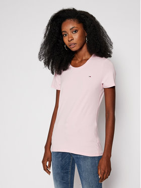 Tommy Jeans Tommy Jeans T-shirt Stretch Crew Tee DW0DW09102 Rosa Regular Fit