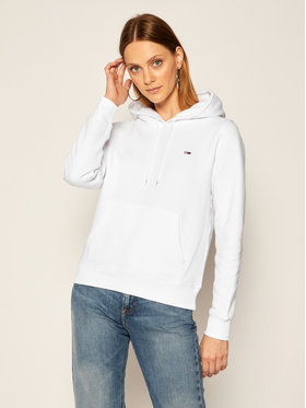Tommy Jeans Tommy Jeans Bluză Fleece Hoodie DW0DW09228 Alb Regular Fit