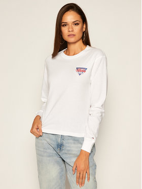 Tommy Jeans Tommy Jeans Bluză Triangle Back DW0DW08938 Alb Regular Fit