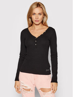 Guess Guess Blúz Henley W0BP1S R9I51 Fekete Slim Fit