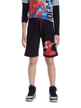 Desigual Desigual Pantalon scurți din material Spiderman 20SBPK05 Negru Regular Fit
