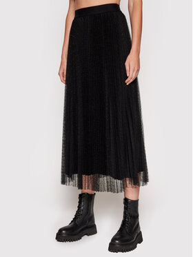 TWINSET TWINSET tylová sukně 212TT2060 Černá Regular Fit