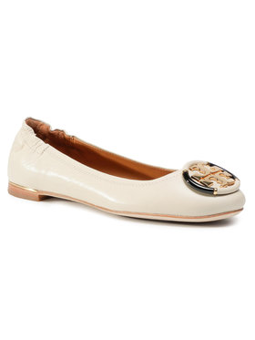 Tory Burch Tory Burch Ballerinas Multi Logo Elastic Ballet Goat Leather 74062 Beige