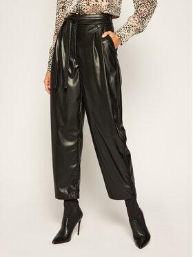 My Twin Kožené nohavice 202MP2084 Čierna Loose Fit