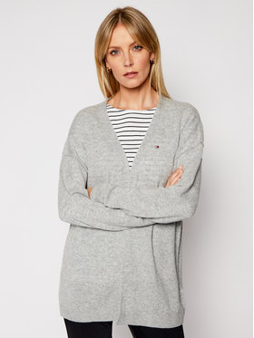 Tommy Hilfiger Tommy Hilfiger Кардиган Open V-Nk Ls WW0WW29662 Сив Relaxed Fit