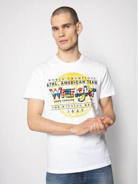 Wrangler Wrangler T-Shirt Ss Athletic Tee W7D8FK989 Weiß Regular Fit