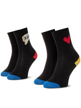 KARL LAGERFELD KARL LAGERFELD Set od 2 para ženskih visokih čarapa 201W6007 Crna