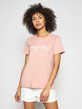 Tommy Hilfiger Tommy Hilfiger T-shirt Crew Neck Graphic Tee WW0WW28682 Rose Regular Fit