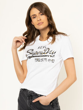 Superdry Superdry Tricou V Logo Animal Emboss Infill Entry Tee W1000080A Alb Regular Fit