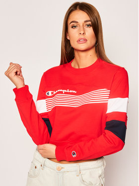 Champion Champion Μπλούζα Graphic Stripe And Colour Block Cropped 112761 Κόκκινο Regular Fit