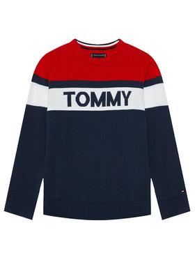 Tommy Hilfiger Tommy Hilfiger Sweter Colorblock KB0KB06510 M Granatowy Regular Fit