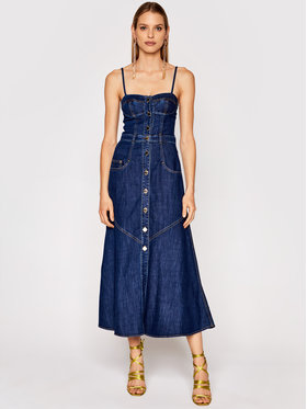 Pinko Pinko Sukienka jeansowa Poppy 1J10LA Y6KB Granatowy Regular Fit