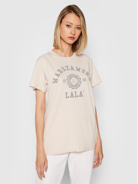PLNY LALA PLNY LALA T-shirt Warszawska Lala PL-KO-CL-00275 Bež Classic Fit