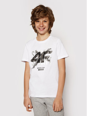 4F 4F T-Shirt HJL21-JTSM007 Bílá Regular Fit