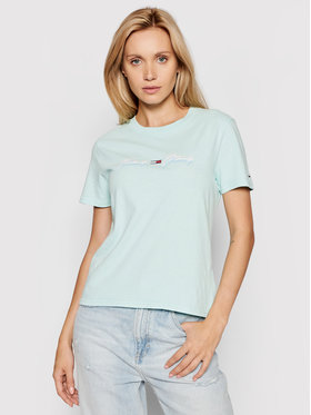 Tommy Jeans Tommy Jeans T-shirt Tjw Linear Logo DW0DW10959 Verde Regular Fit