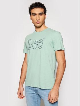 Lee Lee T-shirt Wobbly Logo L65QAIQN Verde Regular Fit
