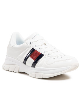 Tommy Hilfiger Tommy Hilfiger Sneakersy Low Cut Lace-Up Sneaker T3A4-31032-0813 S Biały