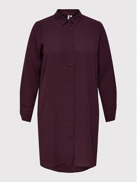 ONLY Carmakoma ONLY Carmakoma Košeľové šaty Carluxsilvia 15244407 Bordová Regular Fit