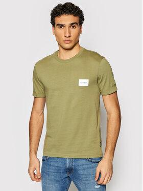 Calvin Klein Calvin Klein T-shirt Turn-Up Logo K10K107281 Verde Regular Fit