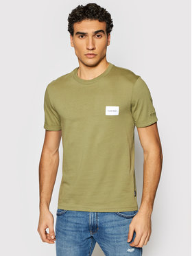 Calvin Klein Calvin Klein T-shirt Turn-Up Logo K10K107281 Zelena Regular Fit