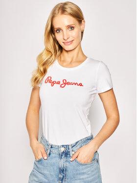 Pepe Jeans Pepe Jeans Marškinėliai Bambie PL504433 Balta Regular Fit