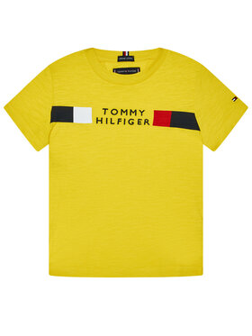 TOMMY HILFIGER TOMMY HILFIGER T-Shirt Global Stripe Tee KB0KB06096 M Żółty Regular Fit