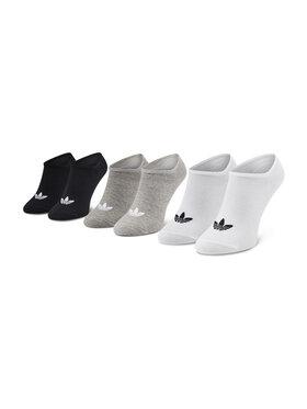 adidas adidas Set de 3 perechi de șosete joase unisex Trefoil Liner FT8524 Alb