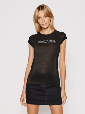 Patrizia Pepe Patrizia Pepe Póló 2M4063/A9A1-K103 Fekete Slim Fit