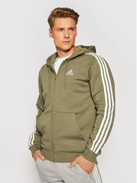 adidas adidas Pulóver Essentials Fleece 3-Stripes GK9052 Zöld Regular Fit