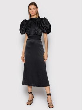 ROTATE ROTATE Koktejlové šaty Dawn RT448 Čierna Slim Fit