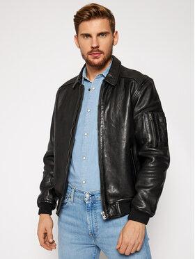 Pepe Jeans Pepe Jeans Kožená bunda Moore PM402308 Čierna Regular Fit