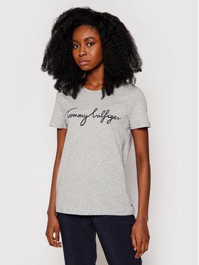 Tommy Hilfiger Tommy Hilfiger T-Shirt Heritage Graphic Tee WW0WW24967 Šedá Regular Fit