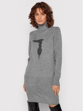 Trussardi Trussardi Sukienka dzianinowa Logo 56D00549 Szary Regular Fit