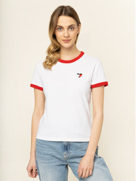 Tommy Jeans Tommy Jeans T-Shirt Ringer Heart DW0DW07571 Weiß Regular Fit