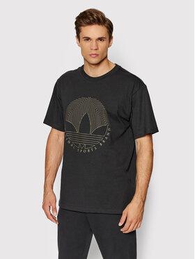 adidas adidas T-Shirt Deco Trefoil Tee H31332 Czarny Regular Fit