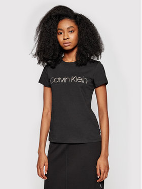 Calvin Klein Calvin Klein Tričko Metallic Logo K20K201852 Čierna Slim Fit
